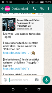 WhatsApp-Service von derStandard.at